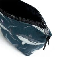 Shark Pattern Zip Pouch | Dark Blue| Kelsey Emblow